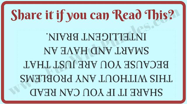 Upside down reading brain teaser to twist your brain