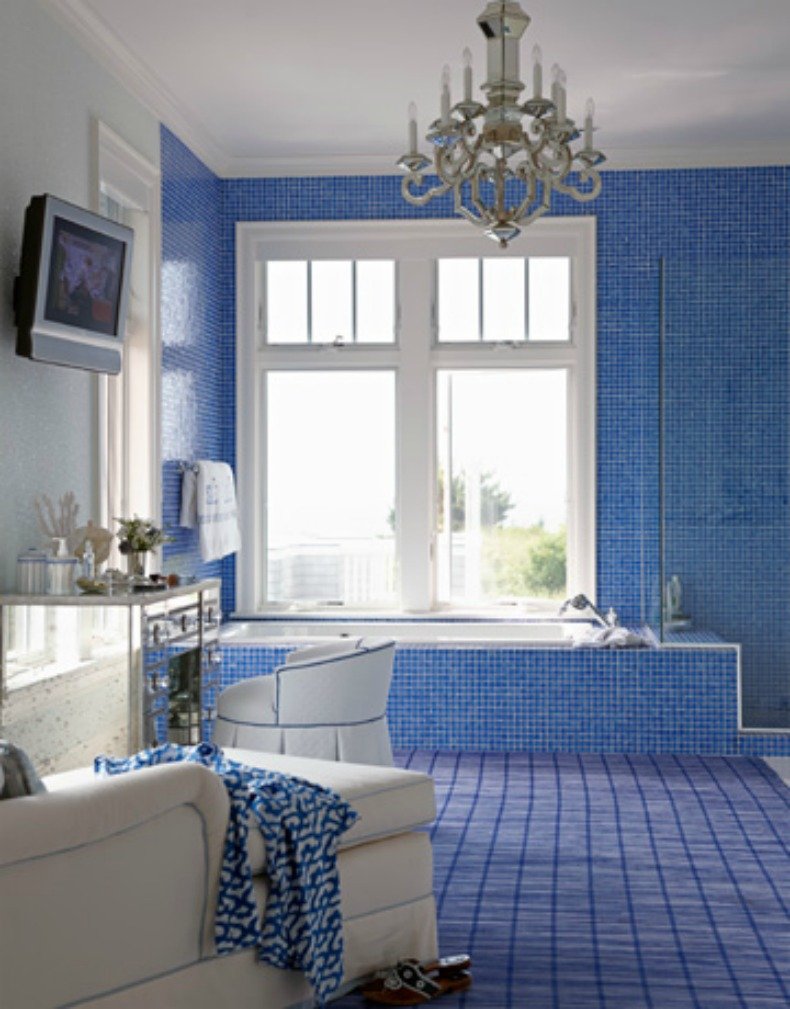coastal blue tile bathroom