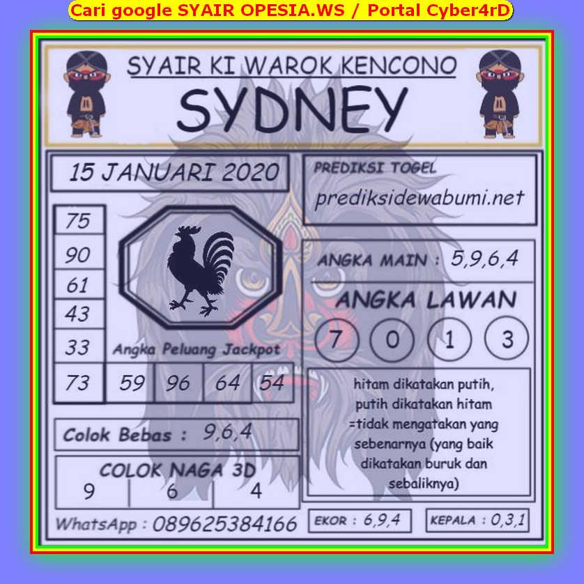 Kode syair Sydney Rabu 15 Januari 2020 84