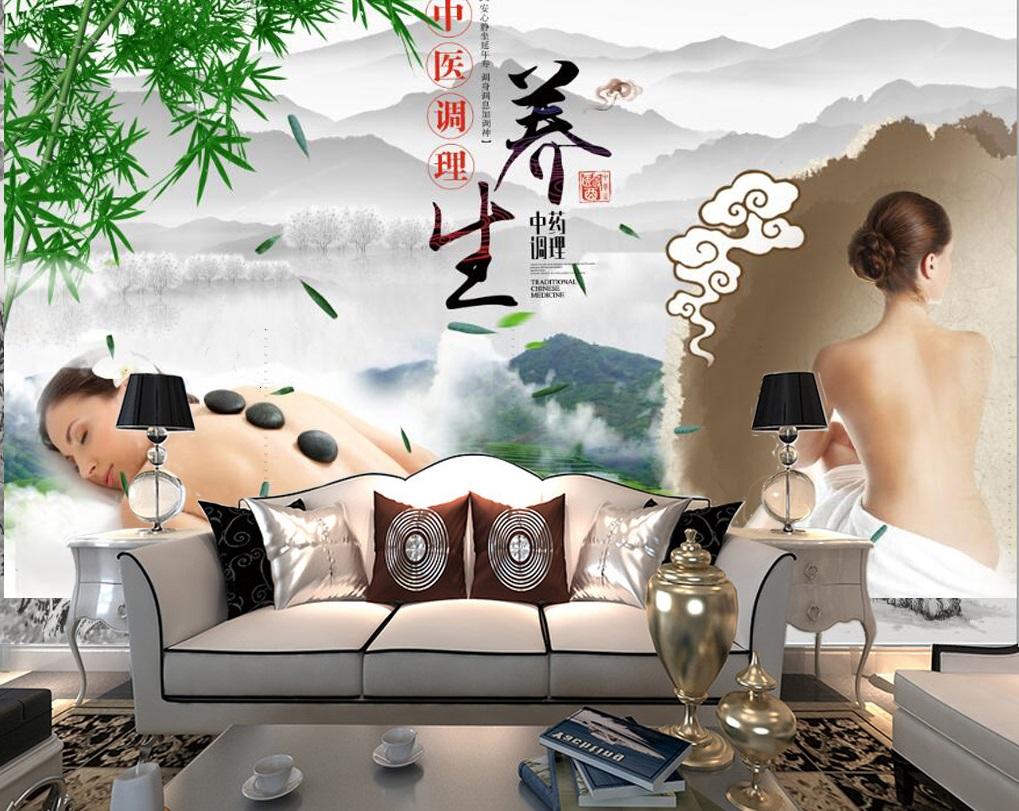 Tranh dán tường 3d trang trí quán spa