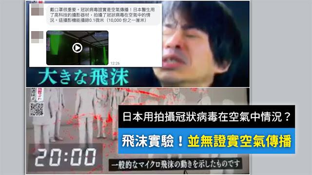 冠狀病毒證實是空氣傳播 日本醫生用了高科技的攝影器材 拍攝了冠狀病毒在空氣中的情況 謠言 影片