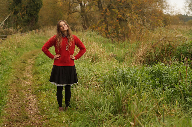 pillar box red jumper