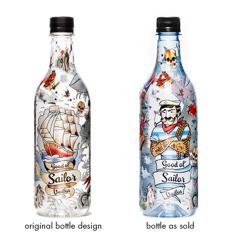Good Ol sailor vodka bottle designs