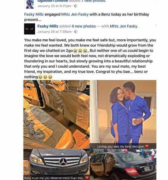 Fasky Millz Buys His Girlfriend He Met On 2Go Brand New Car Worth N15M On Her Birthday