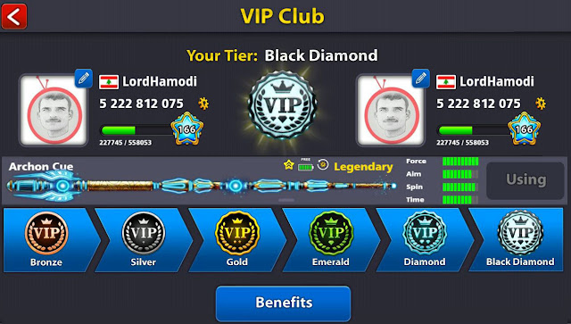 Reach the goal of ARCHON and Black Diamond at 8 ball pool