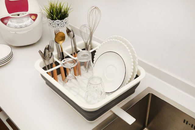 Collapsible Clean Dish Rack Draining Organizer