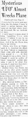 Pilot Tells of UFO That Almost Hit His Plane Far Over Sea (2) - The New Mexican 3-11-1957
