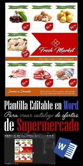 Plantilla editable en Word para catalogo de ofertas de Supermercado