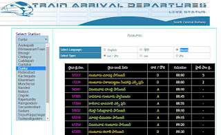 SCR - Live Train Running Status available in Telugu Hindi and English