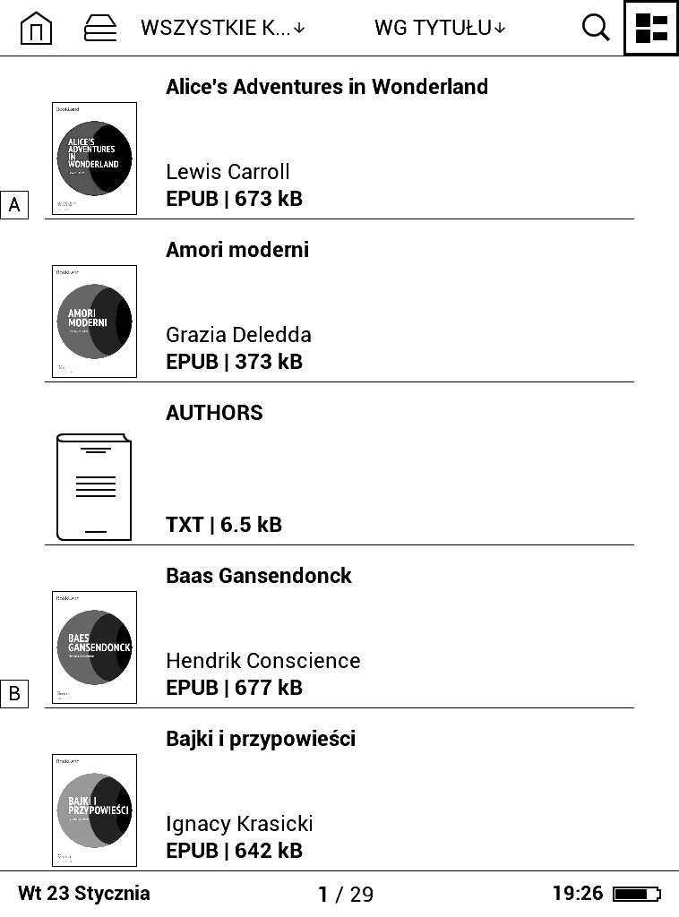 Biblioteka wPocketBook Basic Lux - widok listy pełny