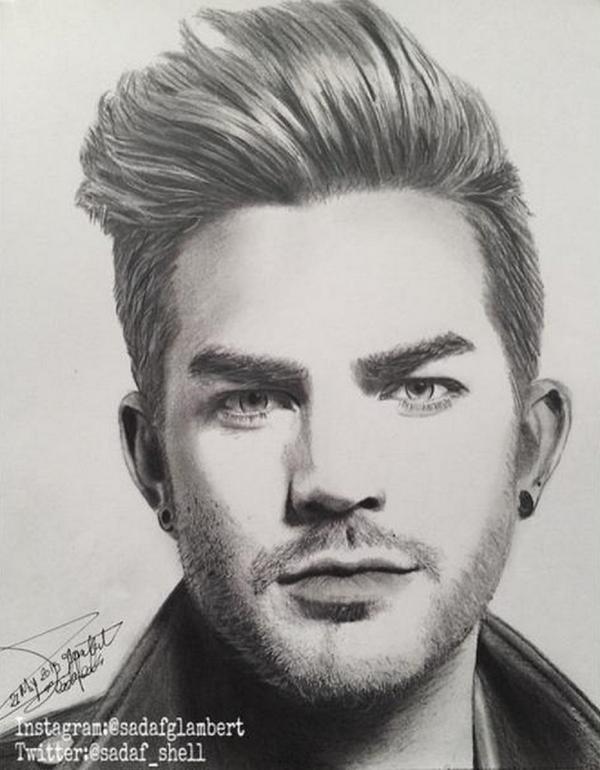 Fabulous Adam Lambert Drawing By Sadaf Glambert