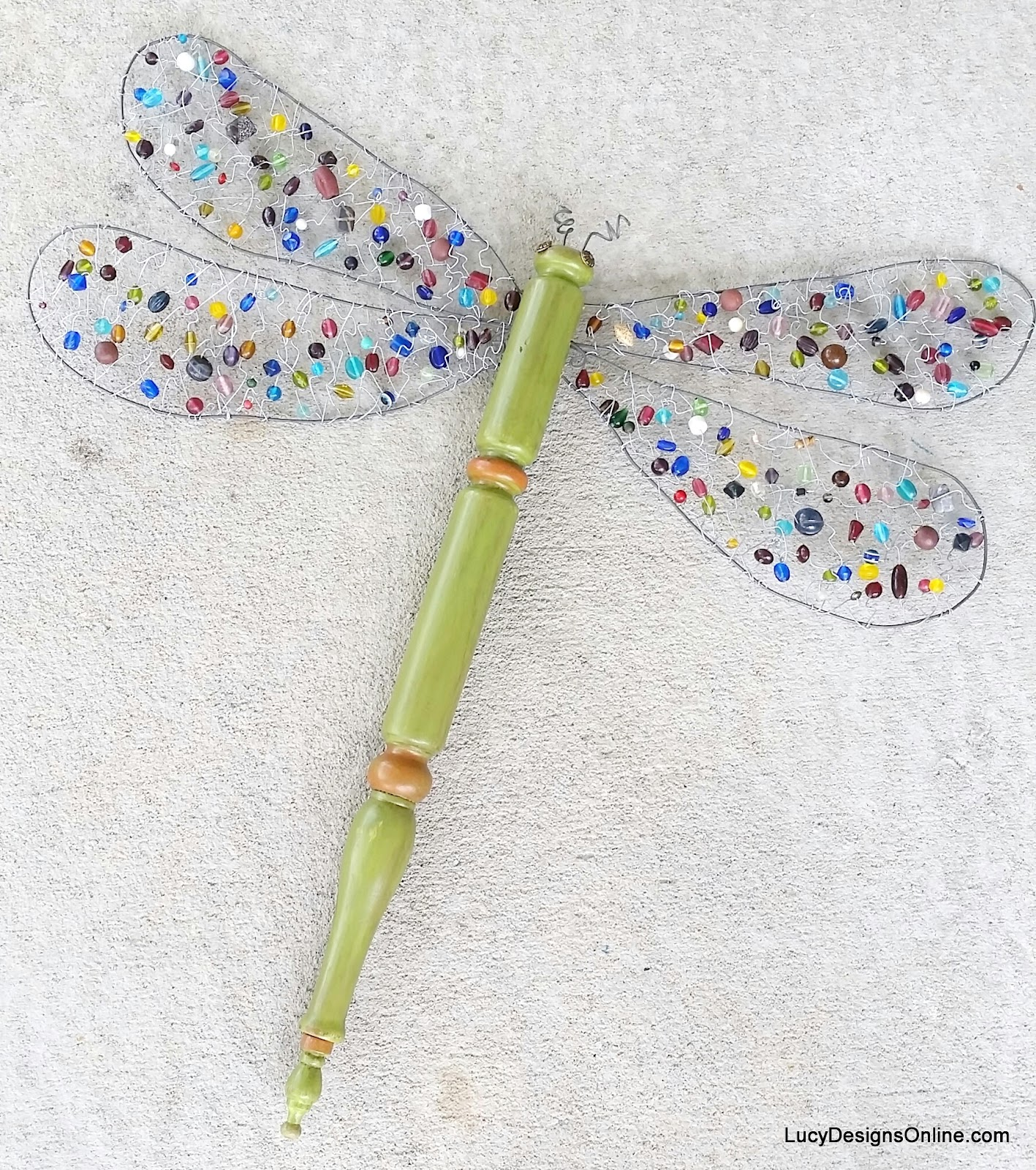 beaded wing table leg dragonfly
