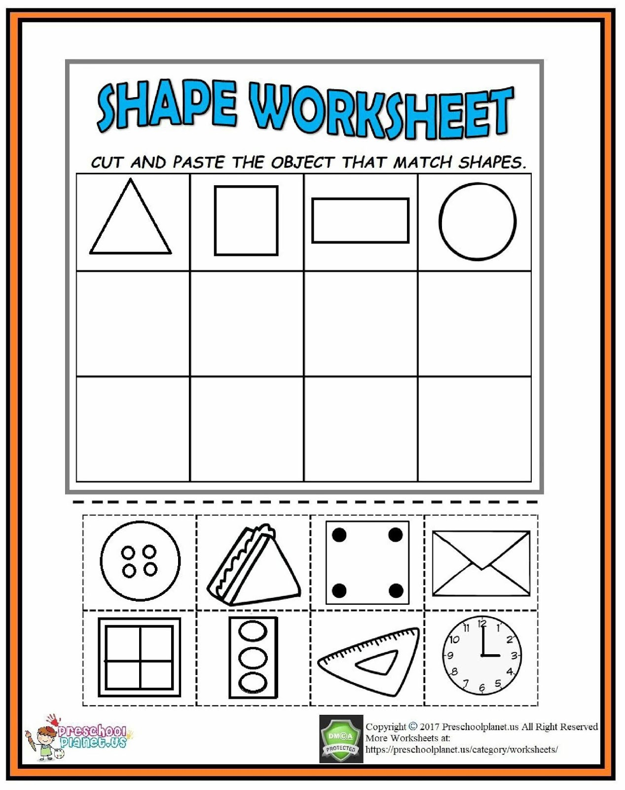 Cut And Paste Shape Worksheet Kindergarten