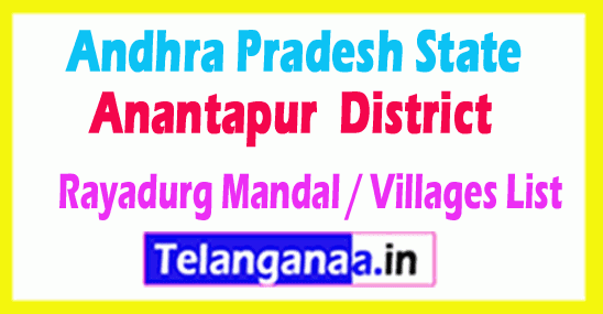 Rayadurg Mandal Villages Codes Anantapur District Andhra Pradesh State India