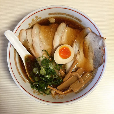 Large Bowl of Authentic Ramen: Sliced Pork, Green Onion, Mushrooms, and Hard-Boiled Egg (No Noodles)
