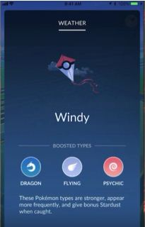 Pokémon GO, Weather Update, Windy, Flying, Dragon, Psychic