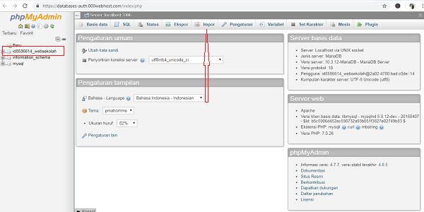 Cara Import Database dari Php Myadmin