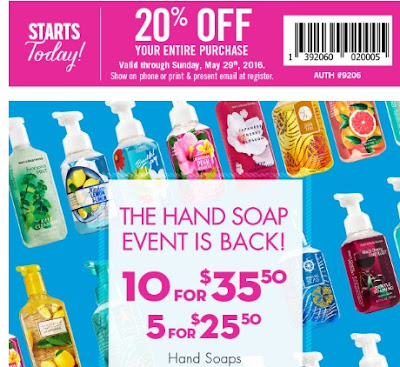 Bath & Body Works 20% Off Coupon + Hand Soap Event