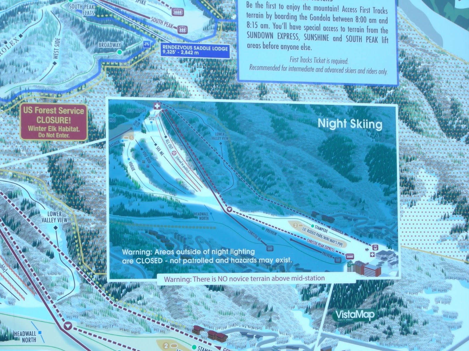 Steamboat Piste Map Showing The Extensive Night Skiing Area