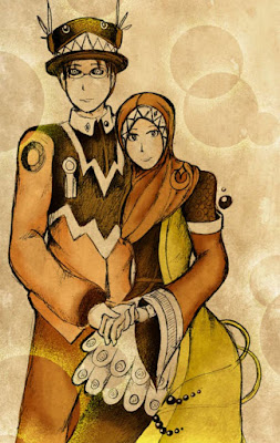 kartun islami pasangan pengantin romantis