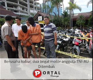 Berusaha kabur, dua begal motor anggota TNI-AU Ditembak