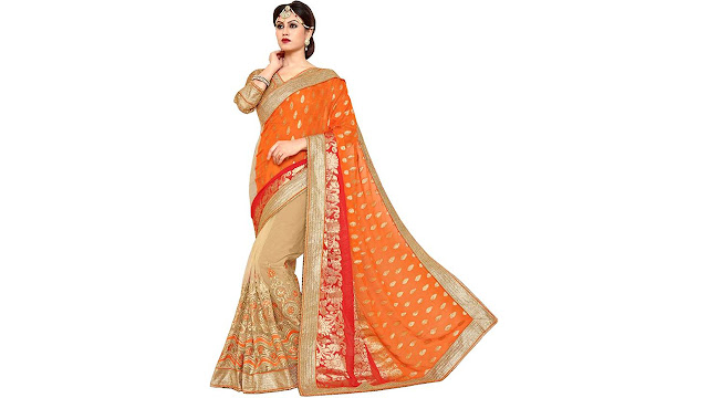 Aarti Apparels Embroidered Bollywood Dupion Silk, Net Saree  (Multicolor)