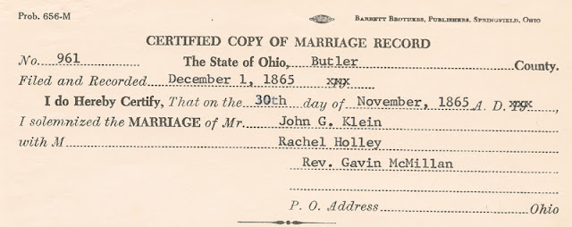 Copy of marriage record for John G. Klein and Rachel Holley [Hawley], 1 Dec. 1865, in Butler County, Ohio.