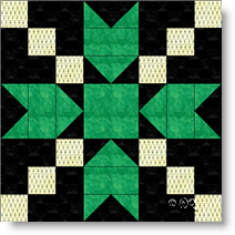 Blackford's Beauty quilt block image © W. Russell, patchworksquare.com
