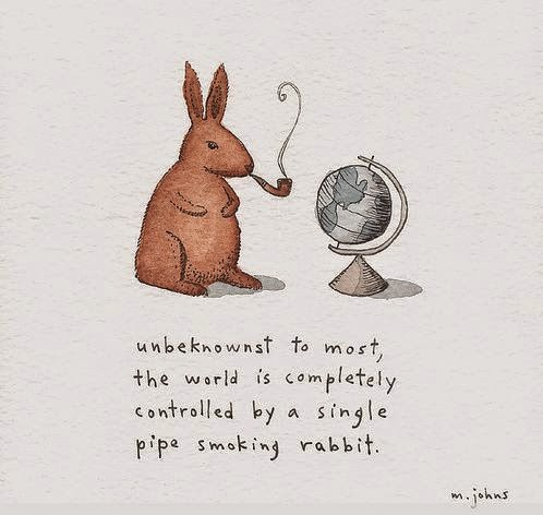 Funny Pipe Smoking Rabbit Control Cartoon Picture