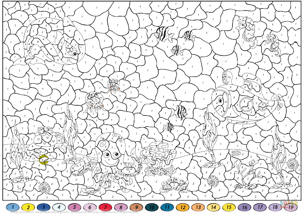 Click The Underwater World Color By Number Coloring Pages To View Printable  Version Or Color It Online Patible With Ipad And Android Tablets