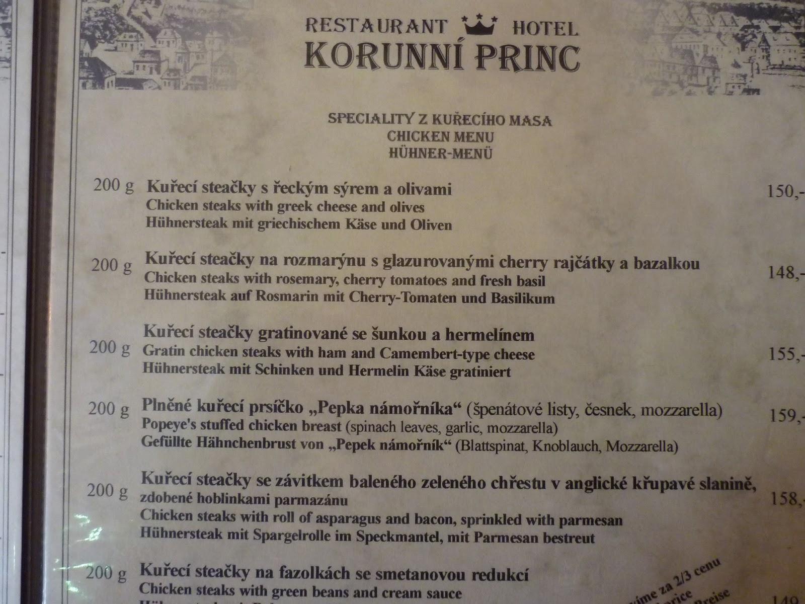 korunní princ turnov jídelní lístek