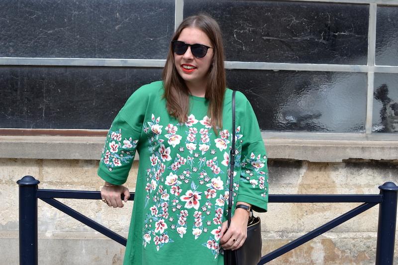 robe verte à fleur Zara, trio bag Céline
