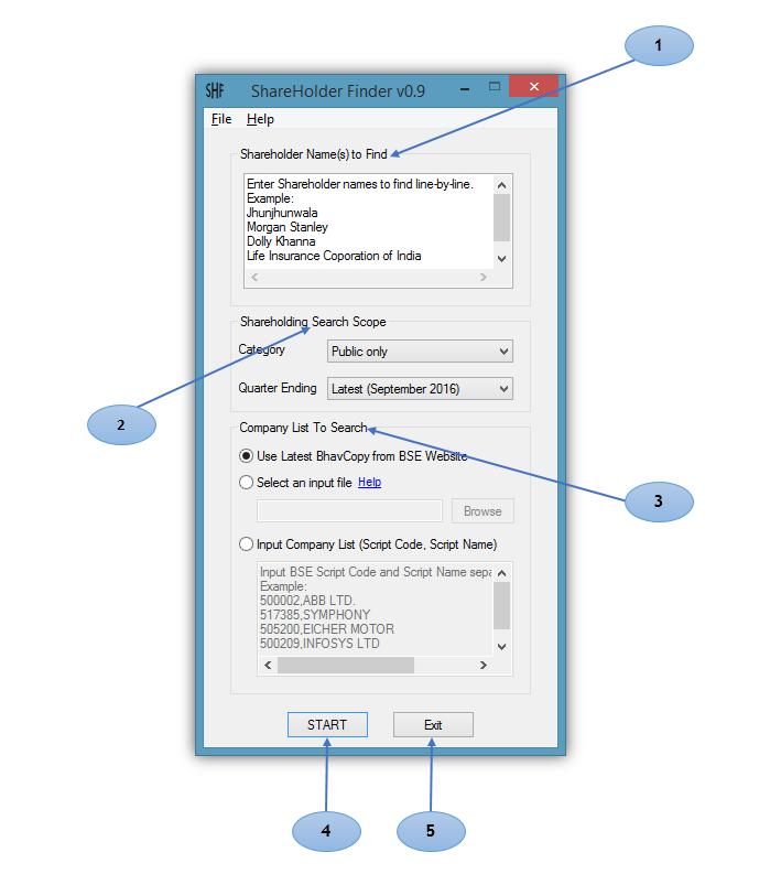ShareHolder Finder Application Screen