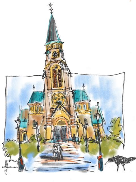Urban sketch: The church in Svedala, Sweden by Ulf Artmagenta