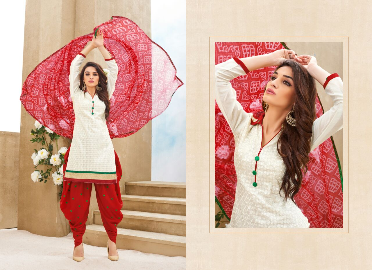 Patiyala – Pure Chanderi Silk Designer Patiala Dress Material