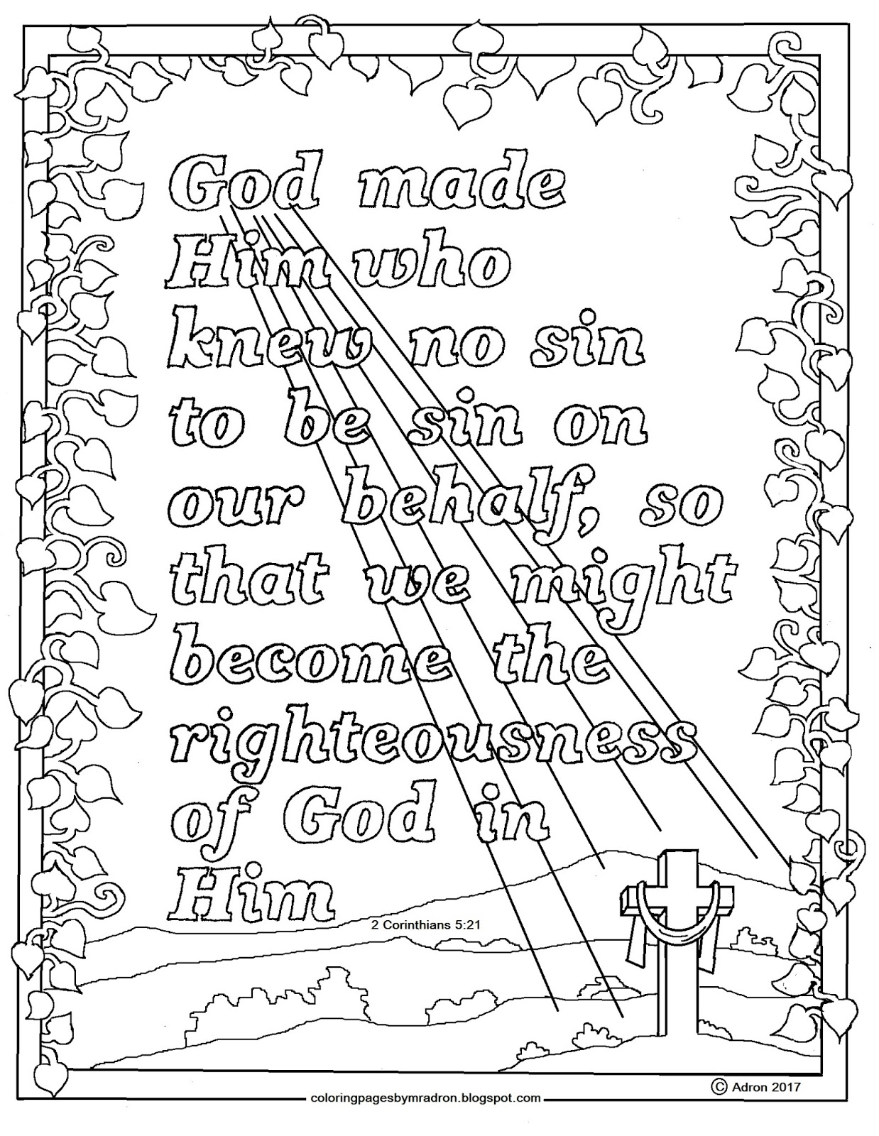 Coloring Pages For Kids By Mr Adron 2 Corinthians 5 21 Print And Color Page God Made Him To