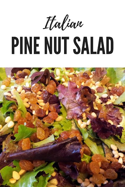 Easy Italian Salad with Pine Nuts and Raisins. Perfect for Entertaining. Takes very little effort to make
