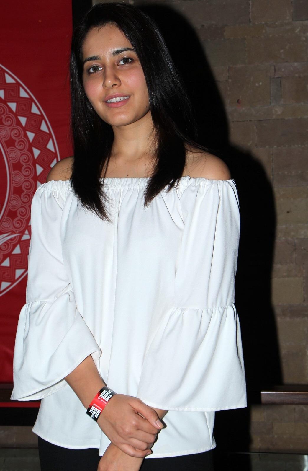 Rashi Khanna Glamorous Stills At Birthday Party In White Dress