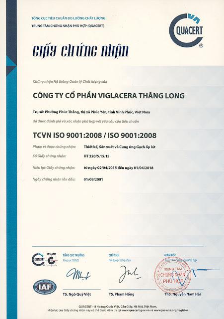 Viglacera Thăng Long đạt TCVN ISO 9001:2008