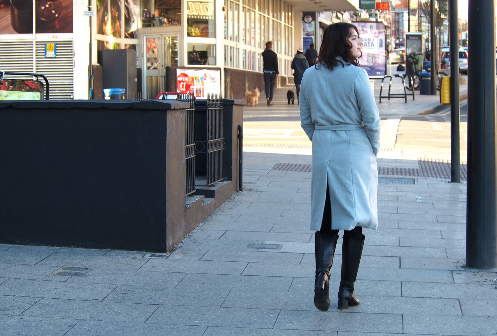 Woman walking in street