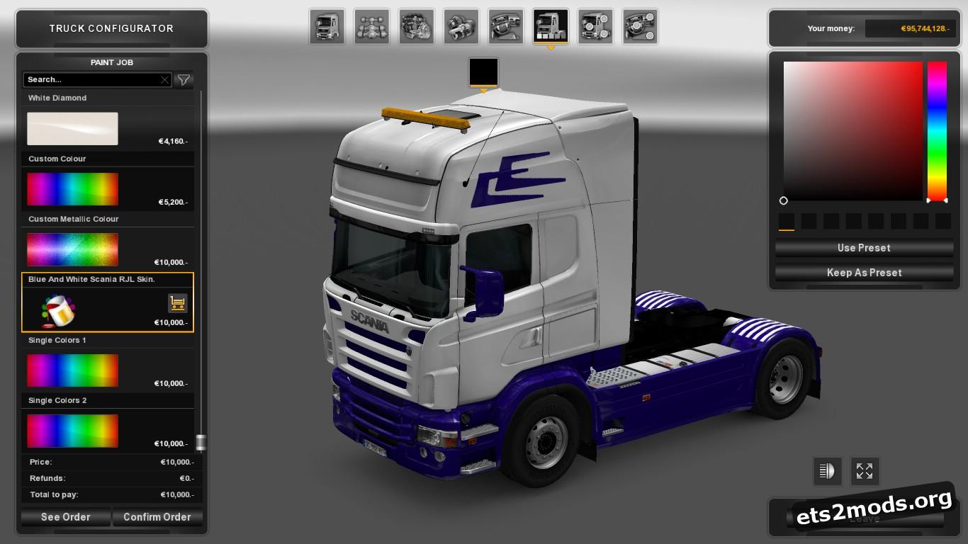 Blue & White Skin for Scania RJL