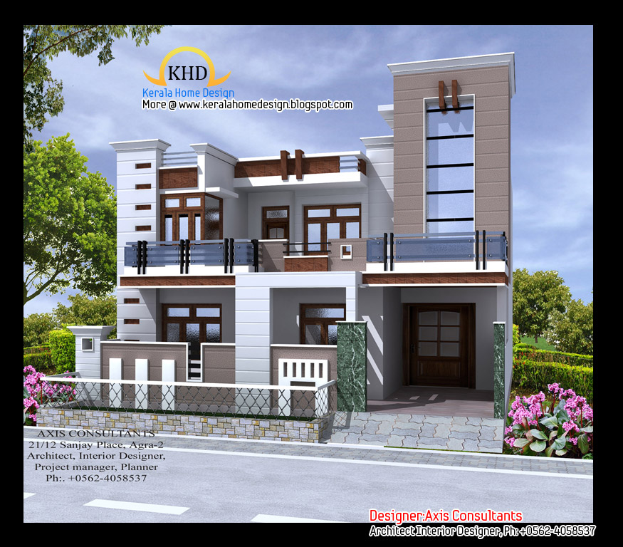 Front Elevation Of Different Houses : July kerala home design and floor plans