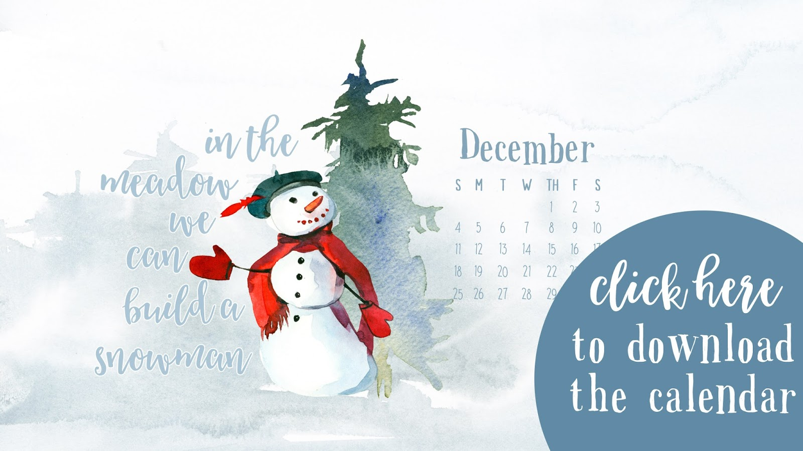 December 2016 Desktop Calendar Free Download