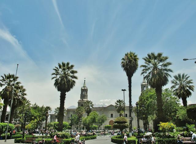 Plaza de Armas de Arequipa no Peru.
