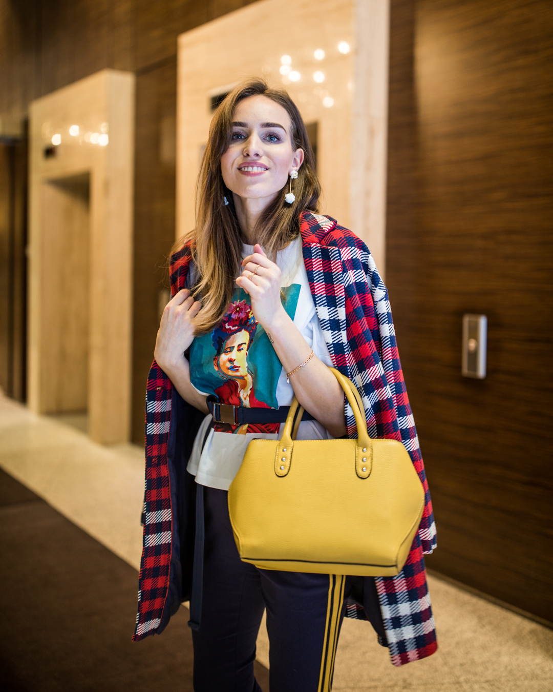 check print coat colorful bag spring outfit
