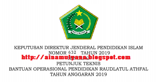 diterbitkan menurut Keputusan Direktur Jenderal Pendidikan Islam Nomor  JUKNIS BOP RAUDHATUL ATHFAL RA TAHUN 2019/2020