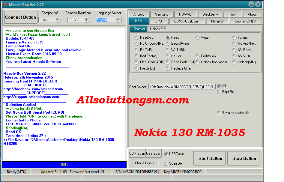 GsmTechnologyBD: Nokia 130 RM-1035 MT6260 Miracle Box Tasted Flash
