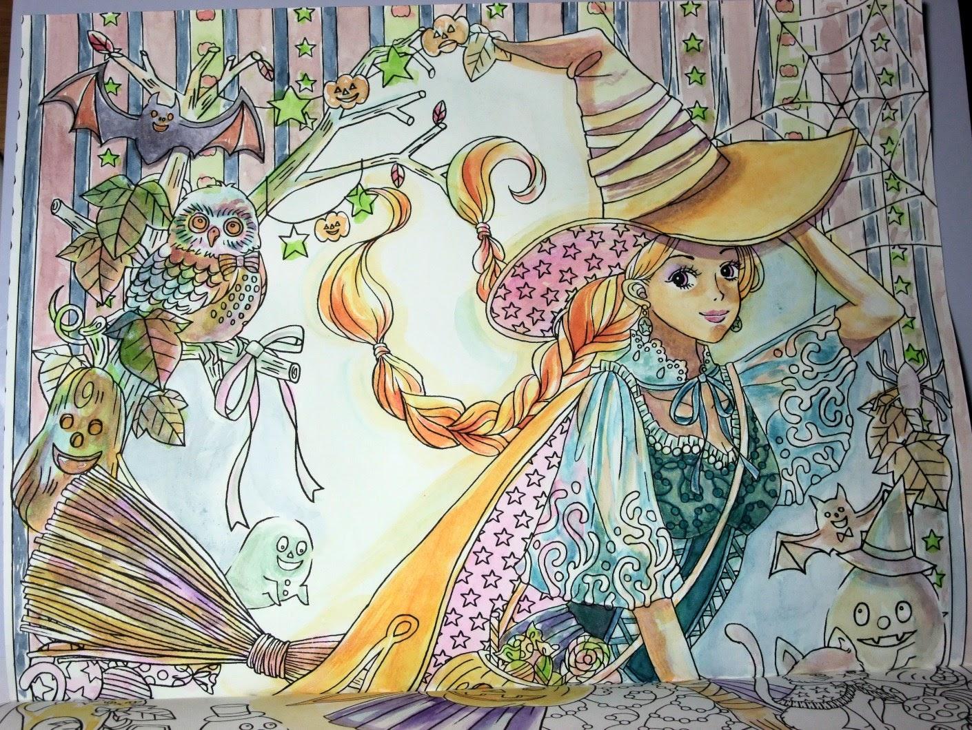 ハロウィンの魔女ぜったいキレイに仕上がる塗り絵 ビューティフル