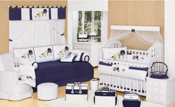 Cuartos de beb en azul blanco y beige colores en casa - Habitacion infantil azul ...