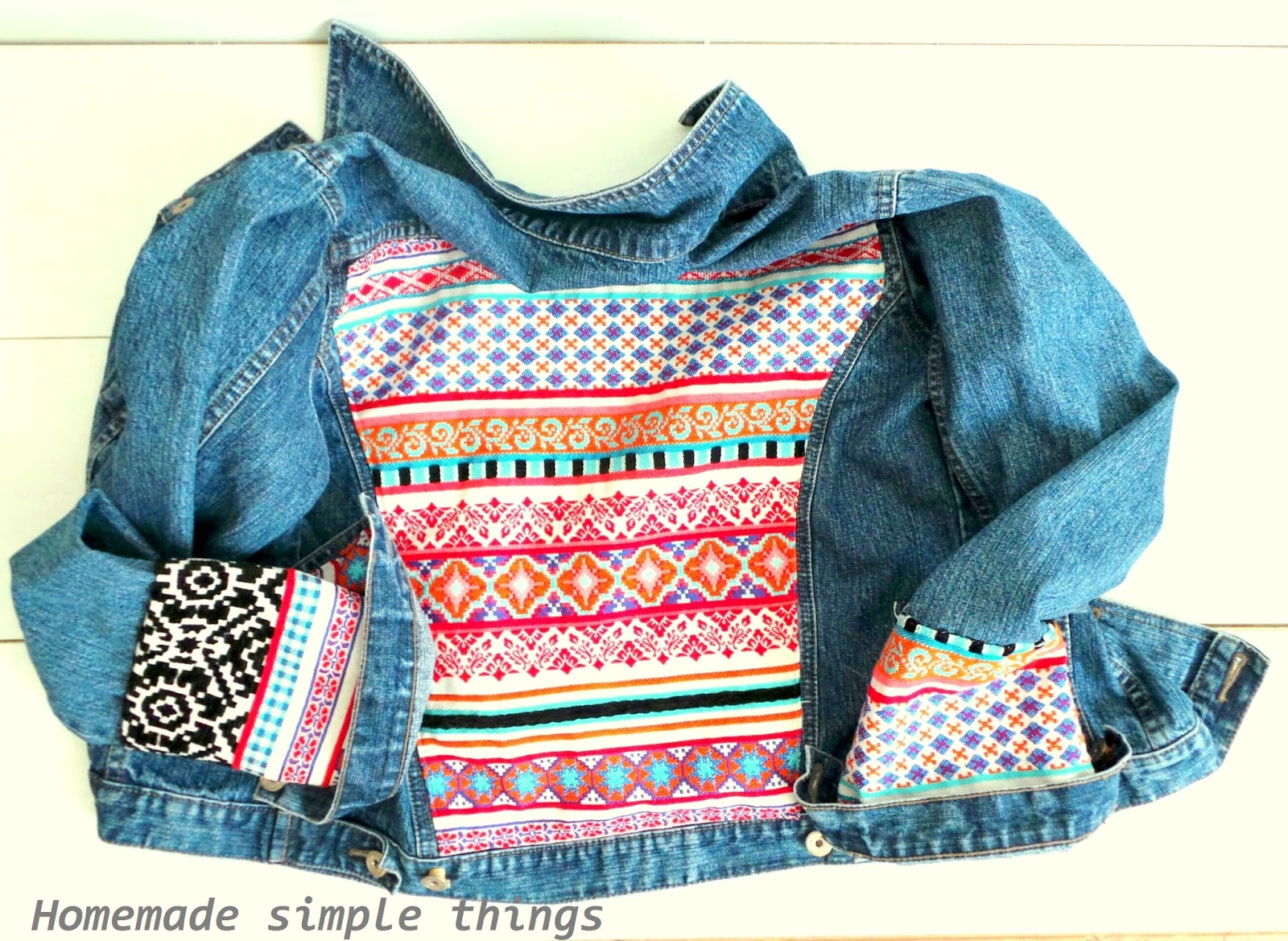 homemade simple things customiser une veste en jean avec un tissu thnique tuto customize a. Black Bedroom Furniture Sets. Home Design Ideas